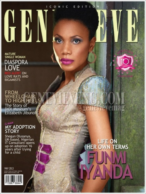 Funmi Iyanda on the cover of Nigerian leading magazine, Genevieve